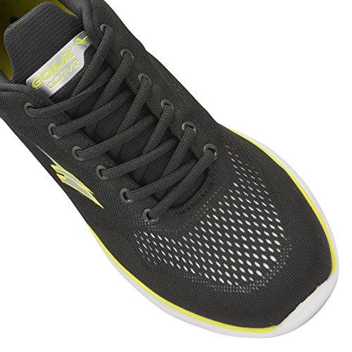 Gola - Zapatillas de deporte modelo Malim para hombre (45 EU/Negro/Blanco/Voltio)