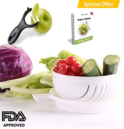 SPECIAL OFFER Premium Salad Cutter Bowl, Vegetable Cutter Bowl - Make Your Salad in 60 Seconds with Bonus Ebook and Peeler included
