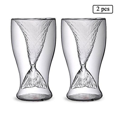UPSTYLE Double Wall High Borosilicate Glass Mermaid Tail Glass Mug Beer Wine Mug Cocktail Glasses Cup Size 100ml, Pack of 2 (Shot Mermaid Glass)