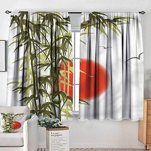 (RenteriaDecor Bamboo Tree,Kitchen Curtains Sunset Scenery Birds 52
