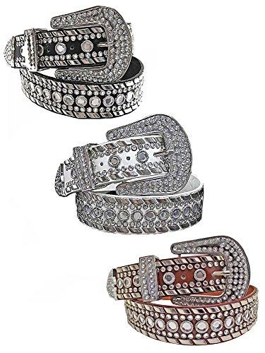 Black White Brown 3 Pack Rhinestone Western Belt For Women Size Medium by Luxury Divas