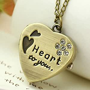 SDBING Love Heart Gold Pendant Pocket Watch Necklace with Diamand Chain Gift