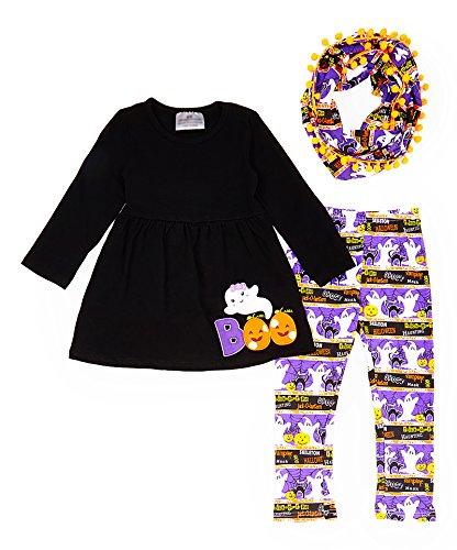 Toddler Little Girls Halloween Boo Ghost Pom Pom Leggings Scarf Set 2T/XS -