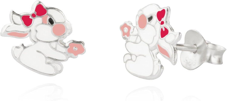 Sterling silver childrens enamel girl bunny rabbit stud earrings//Gift box