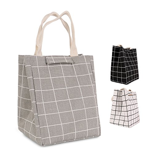 (HOMESPON Reusable Lunch Bag Insulated Lunch Box Cute Canvas Fabric with Aluminum Foil, Printed Lunch Tote Handbag Fordable for Women,Men,School, Office (Checkered Pattern-Grey))