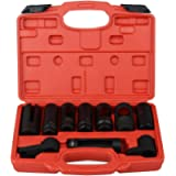 Apeixoto 10pcs Oxygen Sensor Socket Set Sensor Oil Pressure Sending Unit Socket Set 1/2in and 3/8in Sq Drive AP1060K