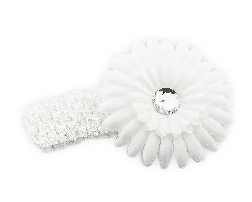 weiß Säugling Baby Mädchen Haarband Stirnband Kopfband Blumen Haarschmuck BonaMart