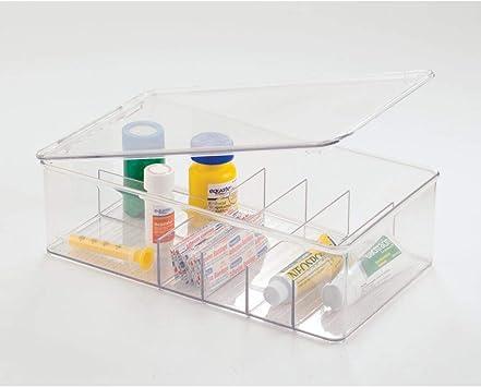 mDesign Juego de 4 Cajas organizadoras con 6 divisiones Cada una – Cajas de plástico con Tapa apilables para medicamentos y vitaminas – Recipientes de plástico Resistente para botiquín – Transparente: Amazon.es: Hogar