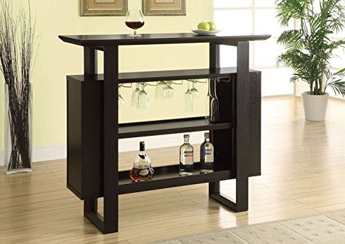 Modern Bar Cart (Monarch Bar Unit with Bottle and Glass Storage, 48-Inch,)