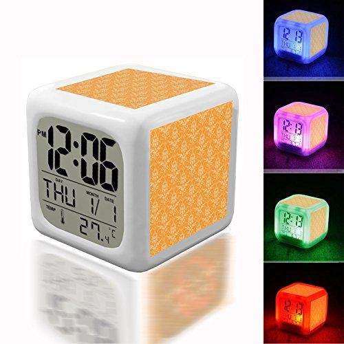 - Wake Up Alarm Thermometer Night Glowing Cube 7 Colors Clock LED for Bedroom&Table,School Desk Customize- 669. brocade pattern background orange free pictures