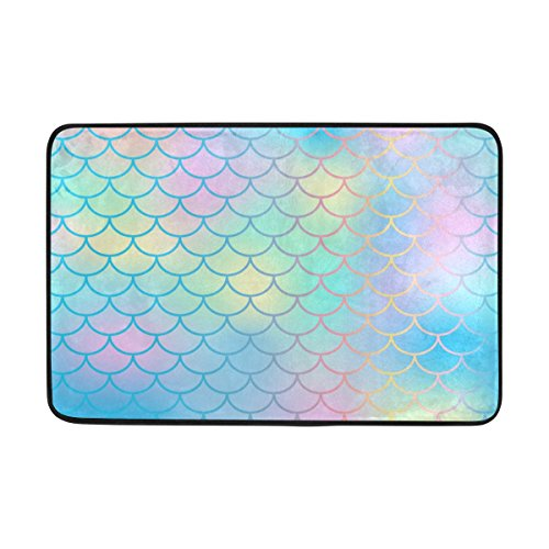 My Little Nest Candy Color Mermaid Fish Scale Area Rug 23.6
