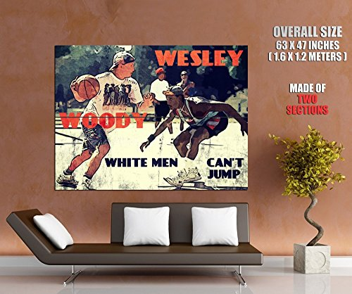 White Men Can't Jump Movie Retro Art Vintage Painting Basketball Woody Wesley Streetball 63x47 Huge Giant Poster Print