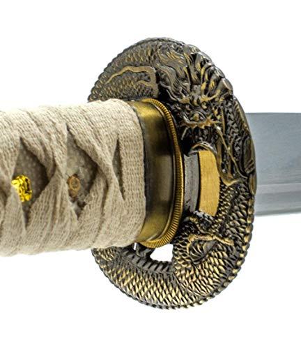 Handmade Sword - Fully Functional Samurai Wakizashi Sword, Dragon Tsuba, 1045 Carbon Steel, Hand Forged Heat Tempered, Full Tang, Sharp, White Scabbard and Handle