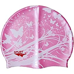 Moolecole Soft Waterproof Silicone Swim Cap Girls Summer Pool Sea Swimming Cap Bathing Haircare Hat Long Hair Pink Butterfly