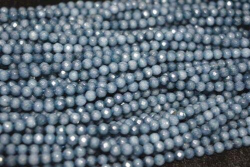 FidgetKute Natural 4mm Faceted Brazilian Aquamarine Gemstone Round Loose Beads 15