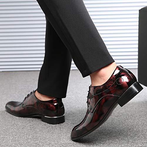 Rojo Para brogue Cómodos Vestir Cuero Calzado Negocios Boda Cordones Derby Lily999 Casual Hombre Zapatos Oxford xq6Ca6