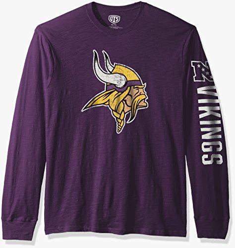 NFL Minnesota Vikings Men's OTS Slub Long Sleeve Team Name Distressed Tee, Purple, X-Large
