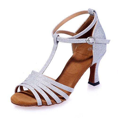 L Mousseuses Danse Paillettes Chaussures Pratique silver YC De Femmes Cuir Salle Pour Bal Chaussures Moderne De De rCrUtwnq
