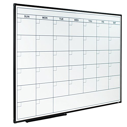 Lockways Dry Erase Calendar Whiteboard - Magnetic White Board Calendar Monthly 48 X 36, Ultra-Slim Black Aluminium Frame, 1 Aluminum Marker Tray, 3 Dry Erase Markers, 8 Magnets for School Home Office