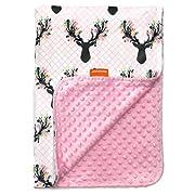 Dear Baby Gear Deluxe Baby Blankets, Custom Minky Print Antler Flowers Antler Flowers, Pink Minky Dot