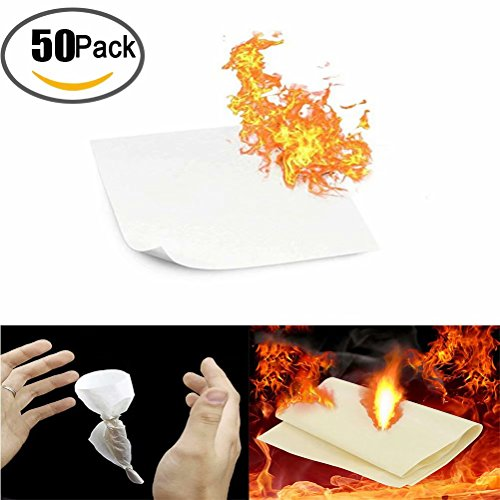 50 Pack Magic Flash Paper Flame Trick Gimmick Conjuring Stage Props Accessories Paper to Rose Magic Tricks for Magic Show Or Lover by QBABY