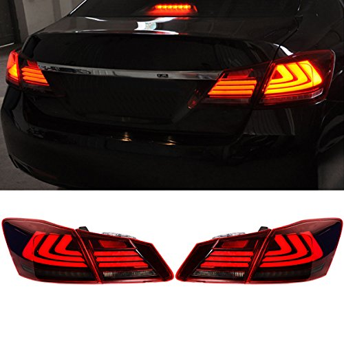 ECCPP LED Brake Red Clear Tail Lights Assembly Rear Lamp For 13-16 Honda Accord Taillight Pair Set
