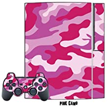 Mightyskins Protective Skin Decal Cover Sticker for Playstation 3 Console + two PS3 Controllers - Pink Camo