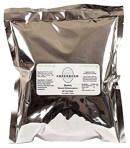 Bust Tea Organic Breast Enhancement Tea. Promotes Increases in Size and Firmness. Flavorful and Refreshing. Extra Value 60 Tea Bags of 2000mg Each.