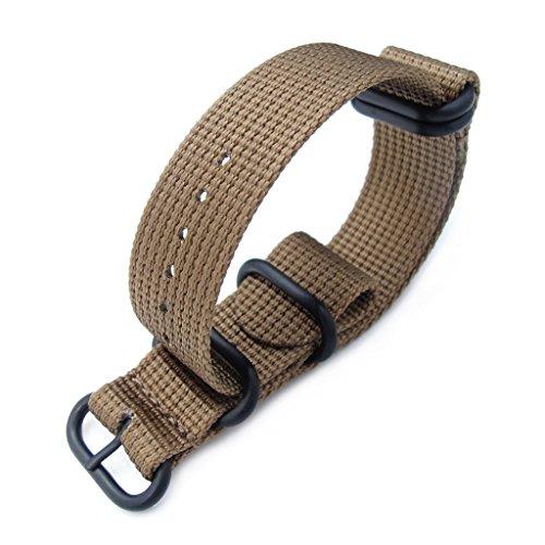 MiLTAT-20mm-5-Rings-G10-Zulu-Water-Repellent-3D-Nylon-Watch-Band-Tan-Brown-PVD-Black