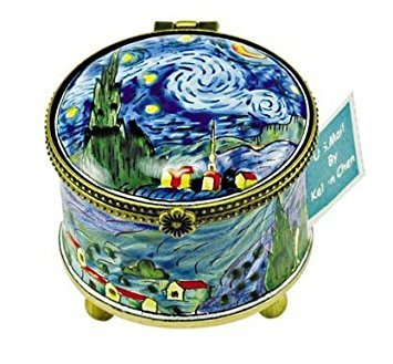Kelvin Chen Enameled Postage Stamp Holder - Starry Night by Kelvin Chen
