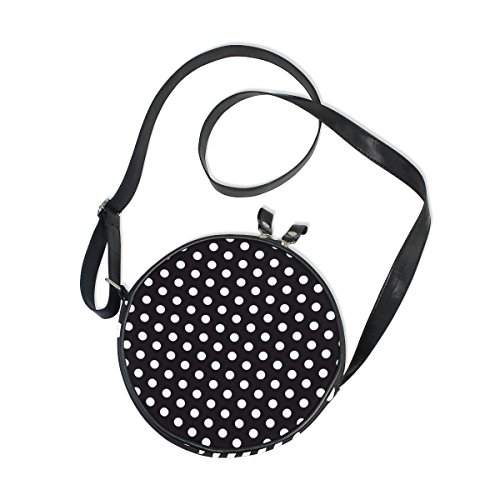 AHOMY Black and White Polka Dot Circle Bag Round Crossbody Purse for Kids Women