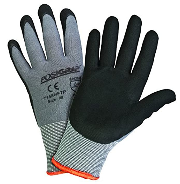 West Chester Micro Foam Nitrile Coated Gloves, Large, Black/Gray, 9 3/8 in, Palm Coated