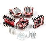 Longruner A4988 Stepstick Stepper Motor Driver Module and Heat Sink for 3d Printer Reprap (Pack of 5 Pcs)