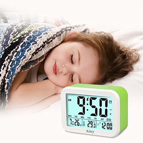 Digital Alarm Clock, Aitey Talking Clock with 3 alarms, Optional Weekday Alarm, Intelligent Noctilucent & Snooze Function, Month Date & Temperature Display for Adults, Kids & Teens (Green) by Aitey (Image #8)
