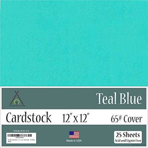 Teal Blue Cardstock - 12 x 12 inch - 65Lb Cover - 25 Sheets by Clear Path Paper