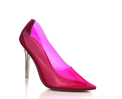 ff94b0addb062 Shoes2Die4 Cape Robbin Nuclear Neon Pink Pointy Toe Clear Heel Pump
