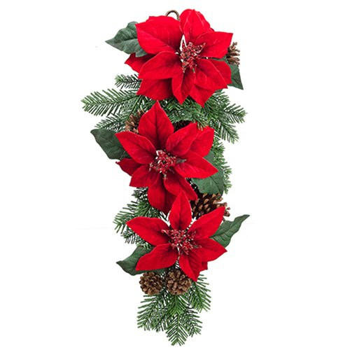 SilksAreForever 26'' Artificial Velvet Poinsettia & Pinecone Door Swag -Red (Pack of 2) by SilksAreForever