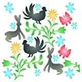 Otomi Pattern Stencil - 6.5 x 6.5 inch (S) - Reusable Allover Mexican Art Embroidery Stencils for Painting - Use on Paper Projects Walls Floors Fabric Furniture Glass Wood etc.