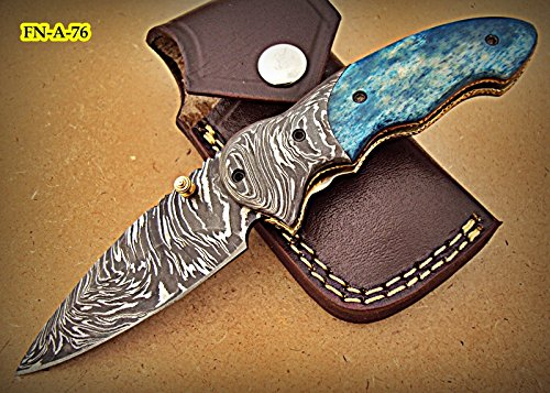 FN-A-76, Custom Handmade Damascus Steel 7.2 Inches Folding Knife – Beautiful Colored Bone Handle with Damascus Steel Bolsters