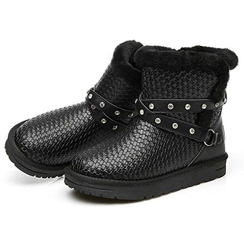 Classico Snow black Alto onna Inverno Autunno Neve Pelliccia Un Stivali Arco SHANGXIAN Boots qfX71vwf