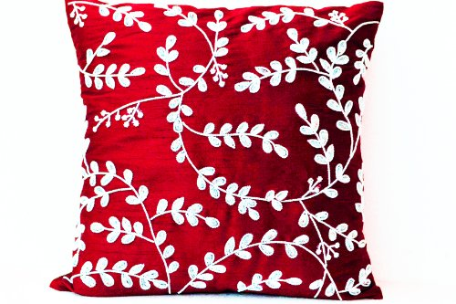 Amore Beaute Handcrafted Red Pillows- Decorative Throw Pillow Cover in Red Art Silk Dupioni with Bead Sequin Detail - Leaves Pillow Cover - Art Silk Pillow Cover - Cushion Cover ()
