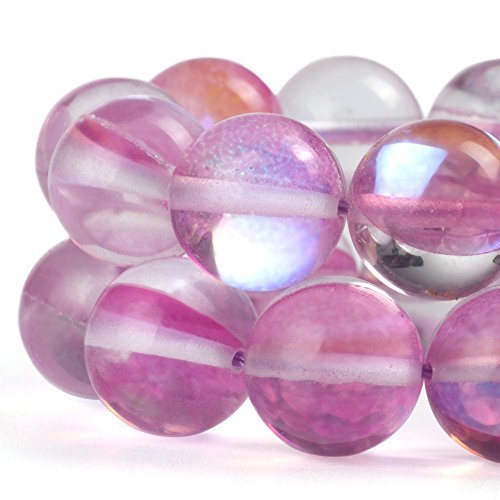 - RUBYCA Round Moonstone Crystal Glass Beads Aura Iridescent for Jewelry Making (1 strand, 6mm, Pink)