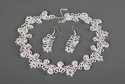 Handmade Tatting (Handmade Jewelry Set Fashion Necklace Long Earrings Tatting Lace Gifts For Her)