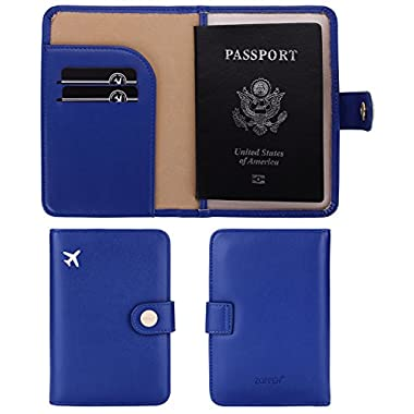 Zoppen Rfid Blocking Travel Passport Holder Cover Slim Id Card Case, 2 Prussion Blue