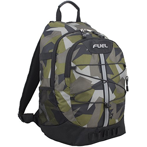 Fuel Terra Sport Spacious School Backpack with Front Bungee, Black/Olive Green JS Shape (Pack Black Olive)