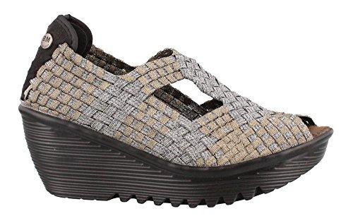 Bernie Mev Womens, Eve Mid Wedge Shoe Bronze Pewter