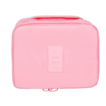 8f0f38b5d ... Mujer Profesional Maquillaje Case Neceser de Viaje Cosmético  Organizador Profesional Maquillaje Case con manija 20 * 15 * 7.5CM Rosa:  Amazon.es: Hogar