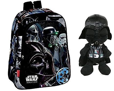Star Wars: Pack Mochila Star Wars ROGUE ONE Negro. 37x29x11 cm + Peluche Darth Vader 29 cm El Despertar de la Fuerza.: Amazon.es: Juguetes y juegos