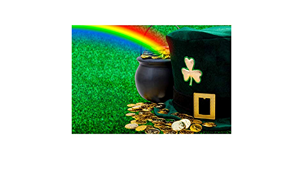 8x6.5ft Happy St.Patricks Day Backdrop Polyester Dancing Leprechauns Pot of Gold Coins Irish Flag Flying Clovers Illustration Background Child Adult Shoot Irish Greeting Card Luck Hope