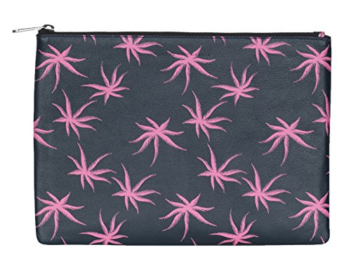 - Marc by Marc Jacobs Black Leather Palm Print Zip Up Pouch Clutch